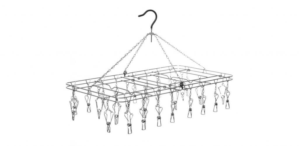 מתלה כביסה נייד מרובע מנירוסטה עם 28 אטבים